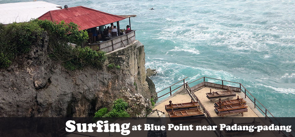 Surfing at Blue Point near Padang-padang